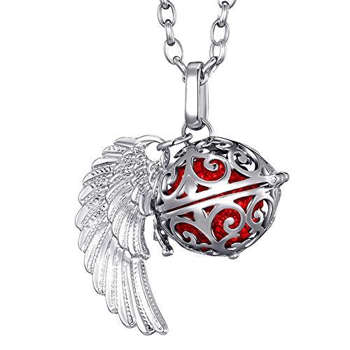 Morella® Damen Halskette Edelstahl 70 cm mit Anhänger Engelsflügel und Klangkugel rot Ø 16 mm in Schmuckbeutel