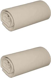 Terre de Nuit - Lot de 2 draps Housse Jersey Sable Bonnet 40 cm 160x190/200 - Jersey - Beige - Uni