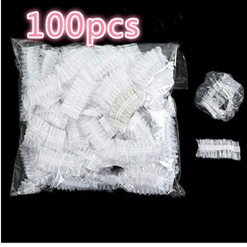 Zonster 100pcs Desechables de plástico Impermeable Cubierta del Protector del oído Caps Herramienta Gorro de Ducha salón de peluquería Tinte Protección Escudo