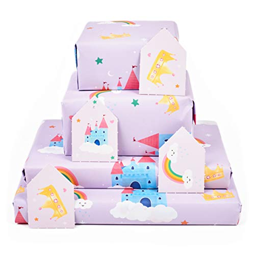Central 23 - Birthday Wrapping Paper - Purple Rainbow and Castle - 6 Gift Wrap Sheets for Girls - New Baby - Stars and Crowns - Recyclable