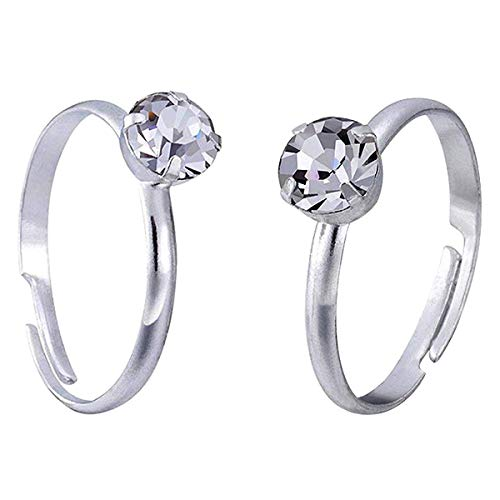 Topoox 60 Pack Bridal Shower Rings Silver Engagement Rings for Party Favor Table Decorations