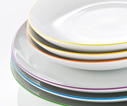 Arzberg Cucina Colori Speiseset 12-tlg. -Sondersortierung- (Speise Service 12-tlg. bestehend aus 6 Speiseteller Ø26cm und 6 Suppenteller Ø 22cm in den Farben: gelb, grün, rot, blau, violett, orange). Tafel Service
