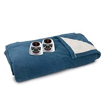 Biddeford Blankets Classic Sherpa Micro Plush Electric Heated Blanket with Digital Controller King Metallic Blue