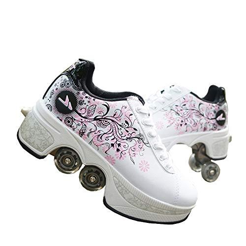 ZHANGJUN Inline-Skates, 2 In 1 Abnehmbare Riemenscheiben-Skates Verstellbare Quad-Rollschuhe, Automatische Wanderschuhe Für Erwachsene Kinder Jungen Mädchen Geschenkschuhe,White-39