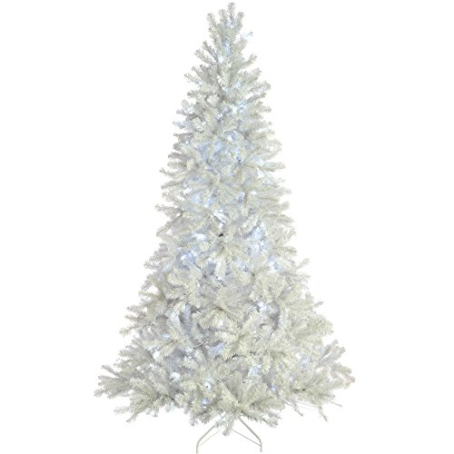 6ft (1.8m) Pre-Lit Shiny White Deluxe Pine Christmas Tree with 250 White LED Lights with Easy Build Hinged Branches