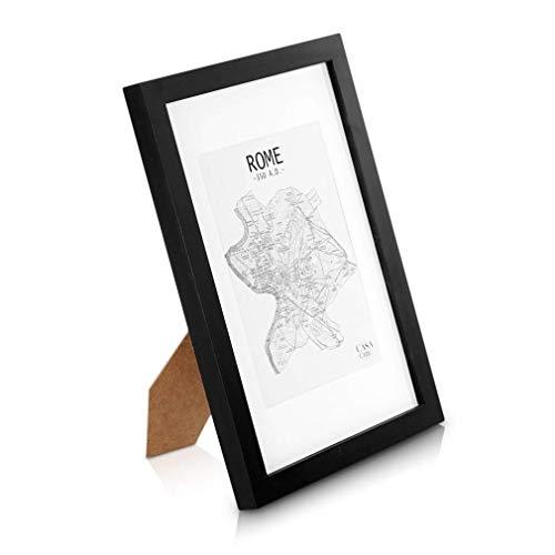 Classic by Casa Chic - Echtholz Bilderrahmen A4 - Schwarz - 21 x 29,7 cm - mit Passepartout für ein 15x20 cm Bild - bruchfestes Sicherheitsglas - Ideal für Zertifikate und Urkunden - Rahmenbreite 2 cm