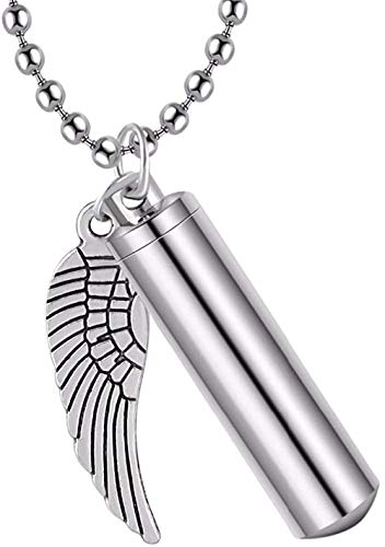 PPQKKYD Necklace Men's Sports Stainless Steel Jewelry Pill Box Box Cylinder Ash Ur Pendant Angel Wing Charm Cremation Memorial Necklace