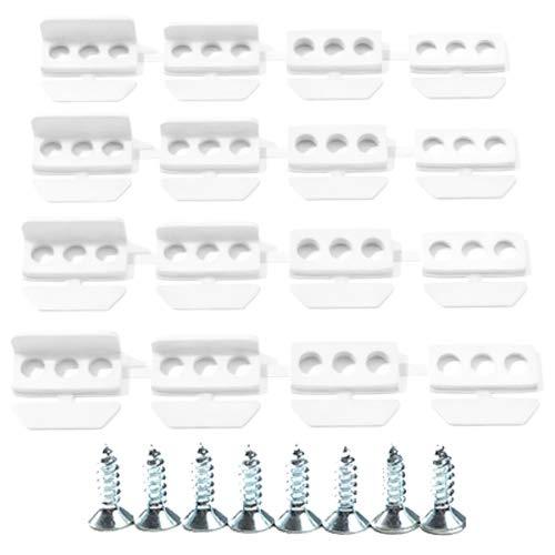 Schuette® Suprafix Plissee Halterungen zum Anschrauben/mit Bohren ● 4 Stück Set ● Weiß ● Click&Forget System passend Plissees ● Rollo & Plisseerollo Spannschuh Halter