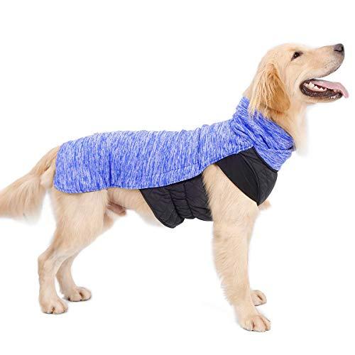 LIVACASA Hundemantel Winddicht Warm Hundejacke Gepolstert Wasserabweisend Wintermäntel Winterjacke für Hunde Reflektierend Bauchschutz Mit Leineloch Winter Hundewintermantel Blau 3XL