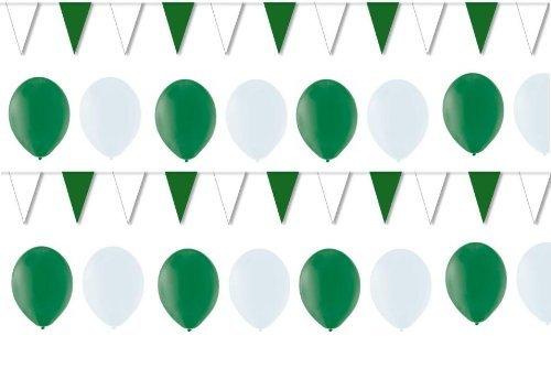 BUDILA® Dekoset grün-weiss 50 Luftballons und 1 Wimpelkette 10m lang