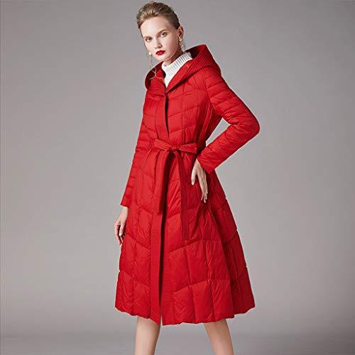 FAPROL-Down Jackets Rouge Doudoune pour Femme, Veste d'hiver Chaude, Duvet De Canard A-Line Long Manteaux avec Capuche Et Ceinture L