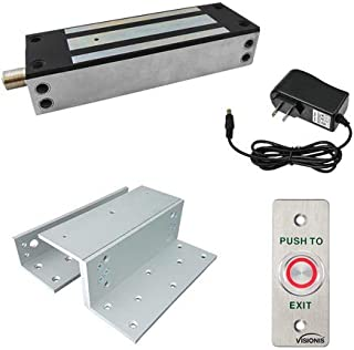 Visionis FPC-7334 VS-SS1500-G Outdoor Electromagnetic Lock 1500lbs with L and Z Bracket VIS-7011 Weatherproof with LED Push to Exit Button NO, COM Outputs for Access Control, 2 Amp Power Supply