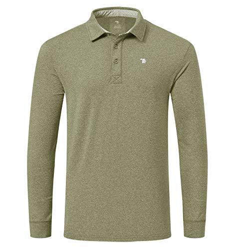 YSENTO Herren Golf Poloshirt Langarm Outdoor Winter Fleece Sport Freizeit Polo Kragen Polohemd T-Shirt(Grün,S)
