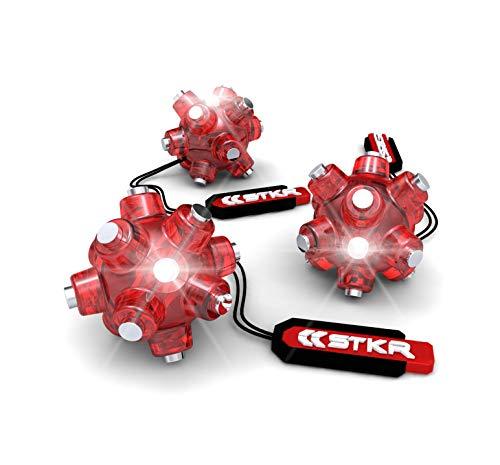 STKR Concepts Magnetic Light Mine Hands - Free Task Light Stocking Stuffer - 3 - Pack, Red