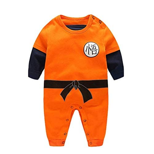 YEMOCILE Dragon Ball Z Design Baby Boys Girls Pagliaccetto Cosplay Costume Goku Ispirato Body Pigiama Bambino Tutine Vestiti (Manica Lunga, 0-3 mesi)