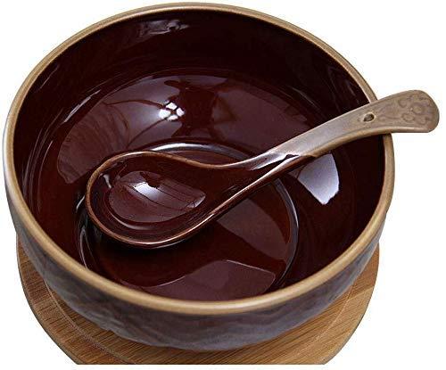 YAeele Tazón de cerámica tazón Snack-Dip Cuencos Vajilla de la Vendimia con el Estudiante Tapa de Madera Dormitorio de Fideos instantáneos Ajustado 6 Pulgadas tazón (Color: Marrón)