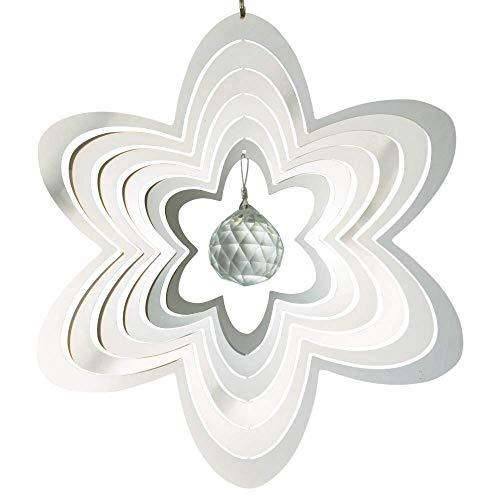 CIM Edelstahl Windspiel - Mirror Crystal Flower - Abmessung: 20 x 20cm - mit Kristallglaskugel, Kugellagerwirbel und Haken
