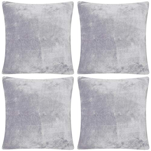 Adore Home 4 x Cushion Cover Faux Fur Mink Soft & Cuddly 2 Sided Warm & Cosy, Silver
