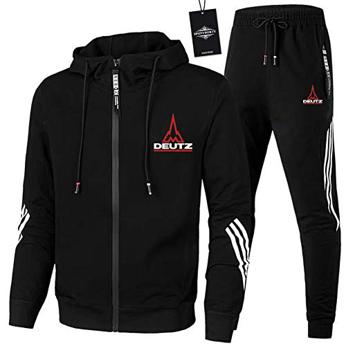 Finchwac Herren Jogging Anzug Trainingsanzug Sportanzug Deu-Tz Streifen Kapuzen Jacke + Hose Z/Schwarz/L sponyborty