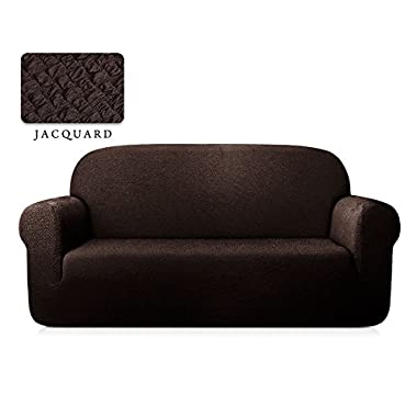 TOYABR 1-Piece Seersucker Jacquard Stretchy Fabric Dinning Room Sofa Slipcovers Fitted Sofa Protector (Sofa, Chocolate)