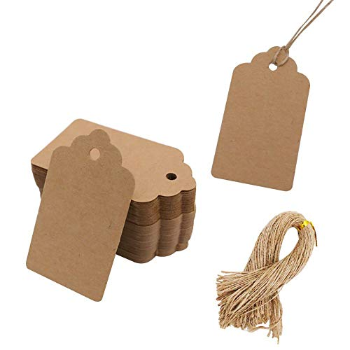 100pcs Kraft Paper Gift Tags with Free 100 Root Natural Jute Twine(Water Ripple) (Best Place To Sell Stamps)