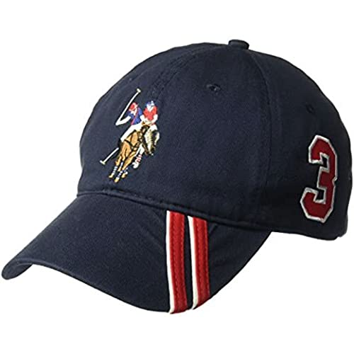Concept One U.S Assn. Men's Polo Horse Adjustable Baseball Cap with Diagonal Accent Stripes, Navy, One Size