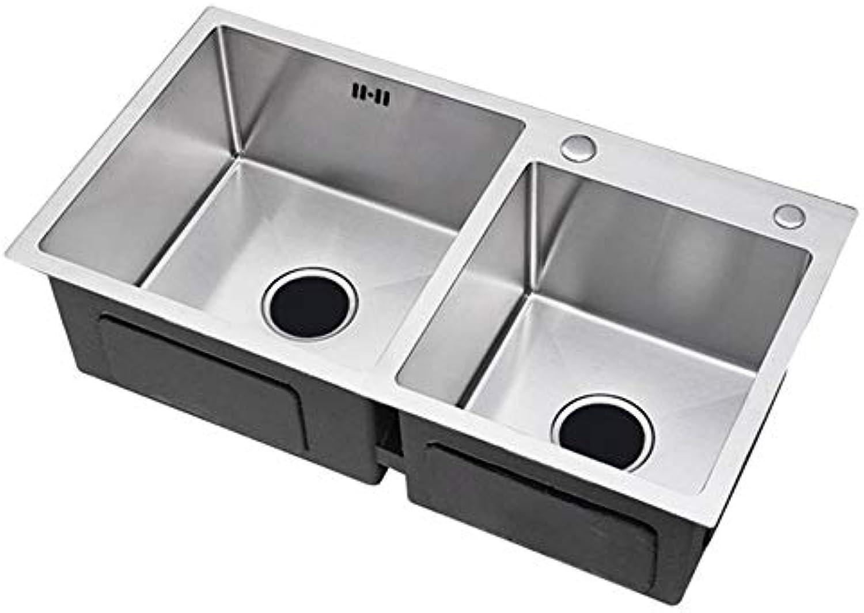 YIEWFI Küchenspüle, Küchenspülen, Edelstahlspülbecken, Embedded-InsGrößetion, Quadratische Spüle, Gebürstet