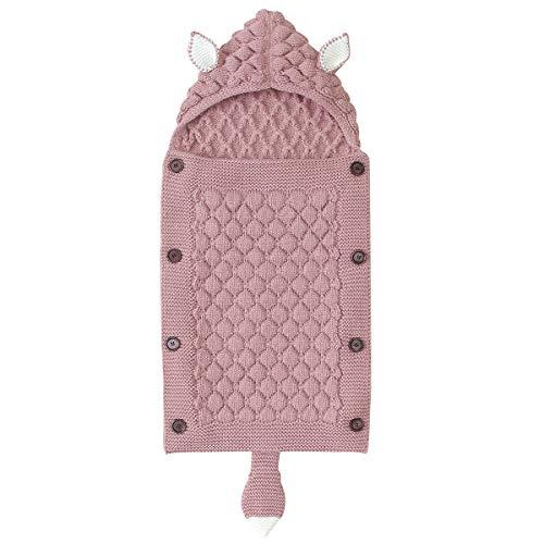 Queen.Y Baby-Schlafsack, gestrickt, für den Winter, warm, für Neugeborene, mit Kapuze, für Babys von 0–12 Monaten