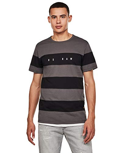 G-STAR RAW Herren T-Shirt Block Stripe Graphic Straight, Lt Shadow/Dk Black 336-B509, Large