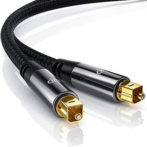 CSL - 5m HQ Platinum Toslink optische digitale kabel - S PDIF audiokabel - aluminium stekkers - vergulde contacten - nylon coating - glasvezelkabel - home entertainment - HiFi – TV – zwart