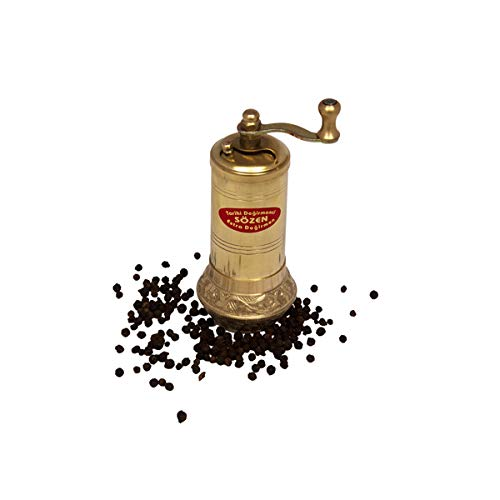 "4.7"" Bowl Bottom Handmade Manual Brass Pepper Mill Grinder Sozen, Portable Conical Burr Pepper Mill, Portable Hand Crank Turkish Pepper Grinder"