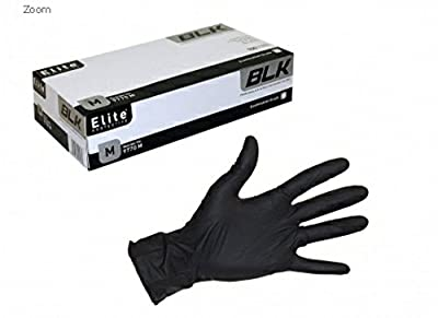 Elite Protective Premium Black Nitile Disposable gloves, Examination Grade, Non Latex, Non Sterile, Powder Free, Textured, 100 gloves per dispenser (Large)