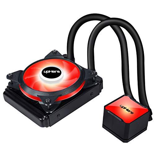 upHere Wasserkühlung/CPU-Flüssigkeitskühlung (120mm Radiator, T4RD4 Pro 120mm Rot Led PWM Lüfter, Erweiterte Rot Beleuchtung) schwarz
