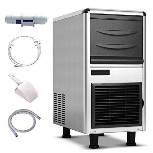 Costzon Commercial Ice Maker, Ice Machine with Adjustable Ice Thickness, 110lbs Ice In 24h, 33lbs Storage Capacity, Stainless Steel Freestanding Under Counter Ice Machine with Ice Shovel