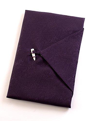 正絹綸子台付ふくさ 桐箱入 慶弔両用袱紗 結婚式 冠婚葬祭 男性用 女性用 (紫 pr) シルク