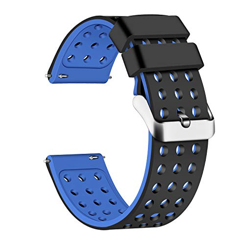 Lwsengme Silicone Quick Release - Choose Color & Width (18mm, 20mm,22mm) - Soft Rubber Watch Bands (Black/Blue, 20mm)