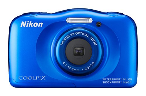 "Nikon Coolpix S33 Fotocamera Digitale Compatta, 13,2 Megapixel, Zoom 3X, 3200 ISO, LCD 3"", Full HD, Blu [Versione EU]"