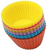 BOBOZHONG Pirottini da Forno 12 Pezzi Pirottini da Forno riutilizzabili stampi in Silicone per Cupcake per Muffin Stampi per Muffin Tazze Arcobaleno per Torte Gelati Budini