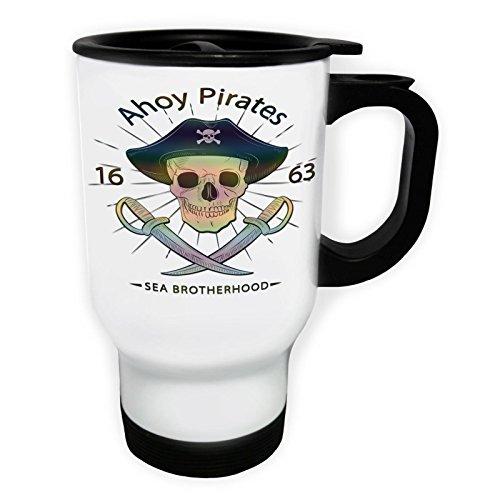 Ahoy Pirates Skull Captain Funny Gift Taza de viaje térmica