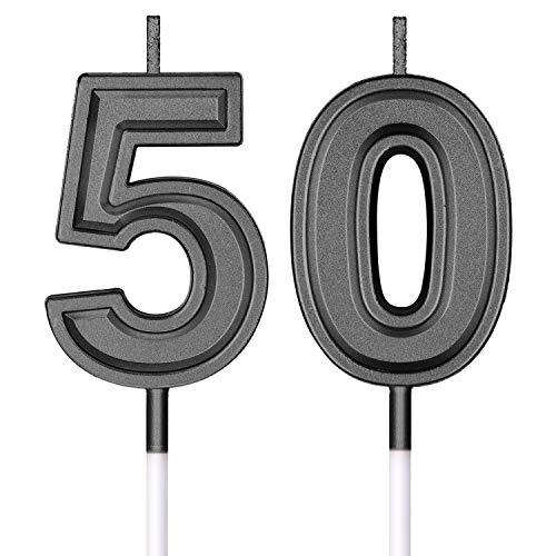 50. Geburtstag Kerzen Kuchen Nummer Kerzen Alles Gute zum Geburtstag Kuchen Topper Dekorationen für Geburtstag Hochzeit Jahrestag Feier Zubehör (Schwarz)