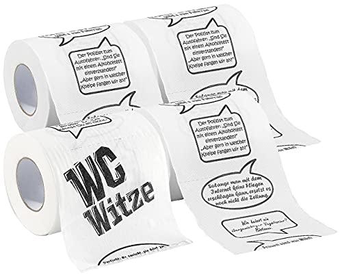 infactory Klopapier Witze: 4er-Set Toilettenpapiere Witze, 2-lagig (WC Rolle)