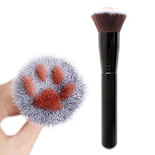 YGGY Mignon Chat Griffe Forme Maquillage Brosses Kawaii Fondation Blush Brosse Fibre Cheveux Alliage D'aluminium Bois Beauté Outil, Noir