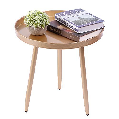 Wakects Mesa auxiliar, diseño mesita de noche con bandeja, moderna y sencilla, de metal, no se oxida, mesa auxiliar redonda para salón, interior y exterior