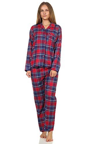 Damen Flanell Pyjama Schlafanzug kariert mit Knopfleiste und Hemdkragen - 202 201 15 600, Farbe:Karo blau, Größe:40/42