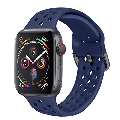Cinturino in silicone per cinturino Apple Watch 44mm 40mm per cinturino IWatch 42mm 38mm Cintura traspirante Cinturino sportivo Apple Watch Series 6 3 4 5-Blu scuro, 42mm o 44mm