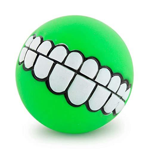 SANDIN 1Stück Lustige Hunde Quietschspielzeug Ball Gebiss-Muster Kauen Hundeball
