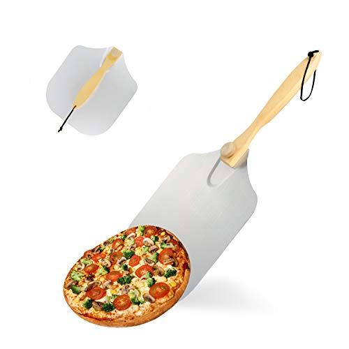 KATELUO Pala para Pizzas, Pala Pizza, Pala para Pizza con Mango de Madera, Palas para Pizzas Plegables, Pala de Pizza de Aluminio para Hornear Pizza, Pan, Pastel, Barbacoas