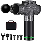 Cryotex Massage Gun – Deep Tissue Handheld Percussion Massager – Six Different Heads for Different Muscle Groups - 20 Speed Options