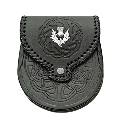 Scottish Kilt Sporran - Black Leather Celtic Kilt Pouch With Chain Belt - Classy Kilt Accessories - Elegant Leather Fanny Pack Waist Bag (Thistle)