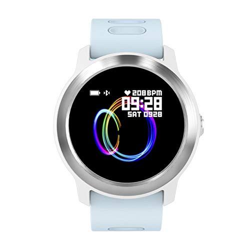 IP68 Impermeable Hombres Mujeres Reloj Inteligente Monitor de Ritmo cardíaco Fitness Track Gift Smartwatch para Android iOS, Azul,